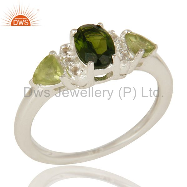 Natural Chrome Diopside And Peridot Sterling Silver Ring With White Topaz