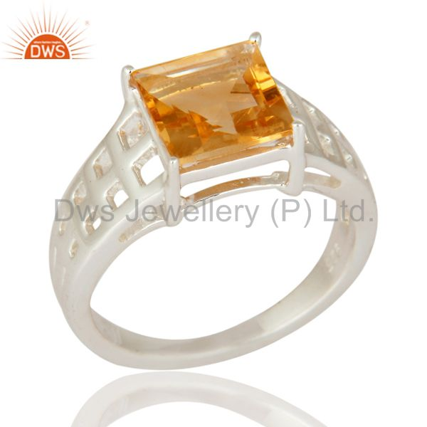 Natural Citrine Emerald cut Gemstone Solid 925 Sterling Silver solitaire Ring