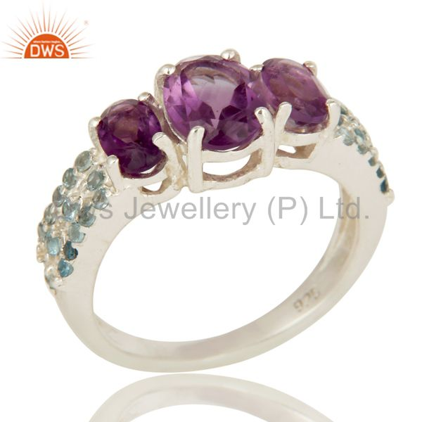 925 Sterling Silver Amethyst And Blue Topaz Three Stone Halo Style Ring