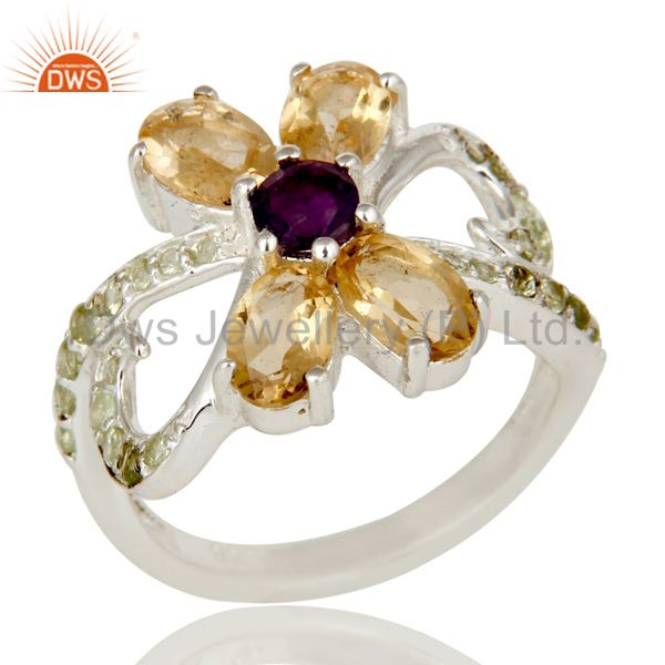 Citrine Amethyst and Peridot Sterling Silver Cocktail Cluster Ring