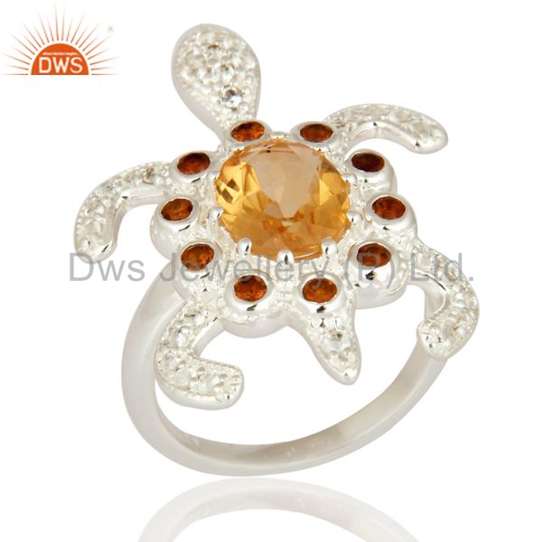 Solid 925 Sterling Silver Turtle Design Ring With Citrine And White Topaz