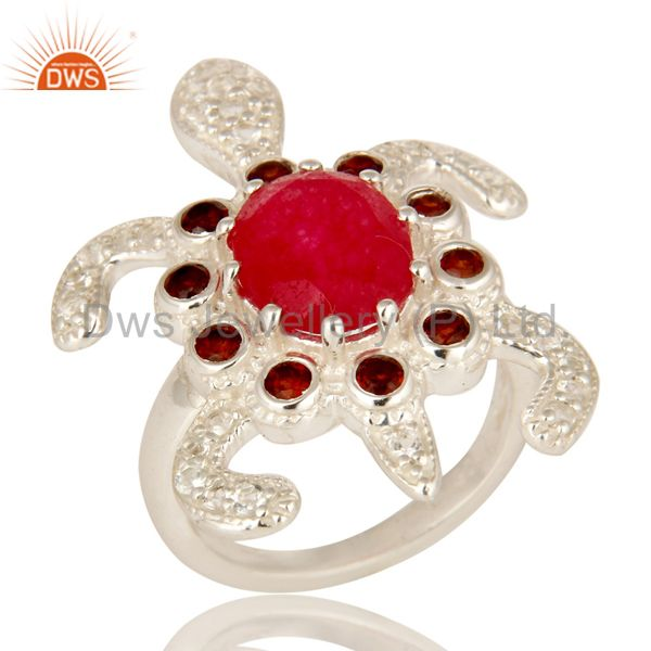 925 Sterling Silver Red Aventurine, Garnet And White Topaz Turtle Design Ring