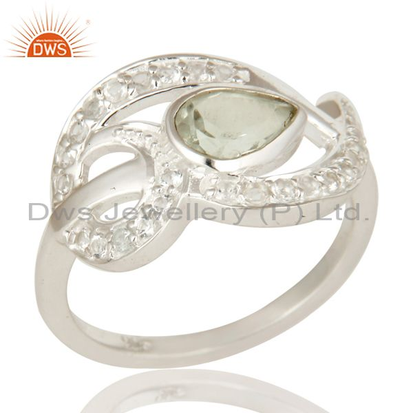 Designer Sterling Silver Green Amethyst And White Topaz Gemstone Dome Ring