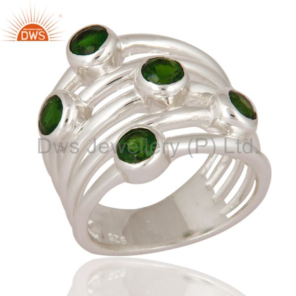 Natural Russian Chrome Diopside Gemstone 925 Sterling Silver Ring Jewelry