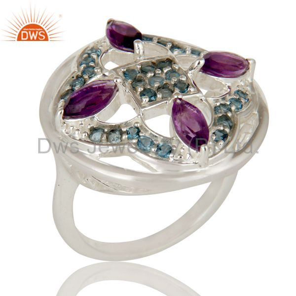 Amethyst And Blue Topaz Sterling Silver Cluster Cocktail Ring