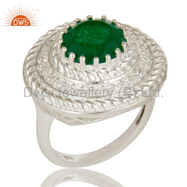 Green Aventurine And White Topaz Sterling Silver Cluster Cocktail Fashion Ring