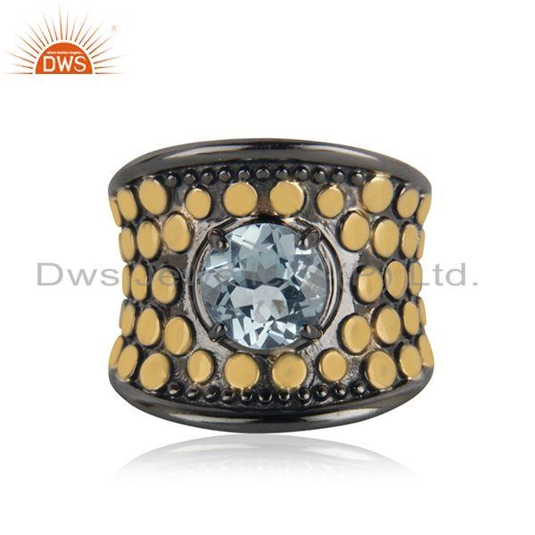 Genuine Blue Topaz Gold and Black Plated Cocktail Ring Manufacturer India