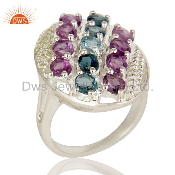 925 Sterling Silver Peridot, Amethyst And Blue Topaz Cluster Cocktail Ring