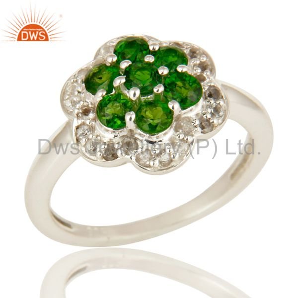 925 Sterling Silver Chrome Diopside And White Topaz Cluster Cocktail Ring