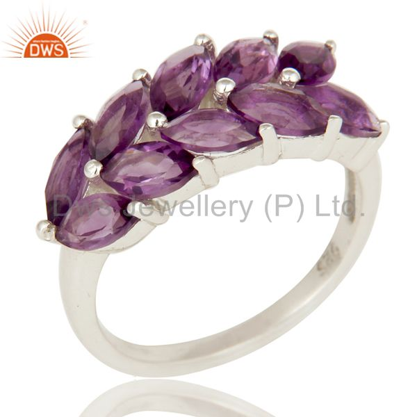 925 Sterling Silver Natural Amethyst Marquise Cut Gemstone Cluster Ring