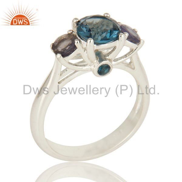 925 Sterling Silver London Blue Topaz And Iolite Gemstone Cluster Ring