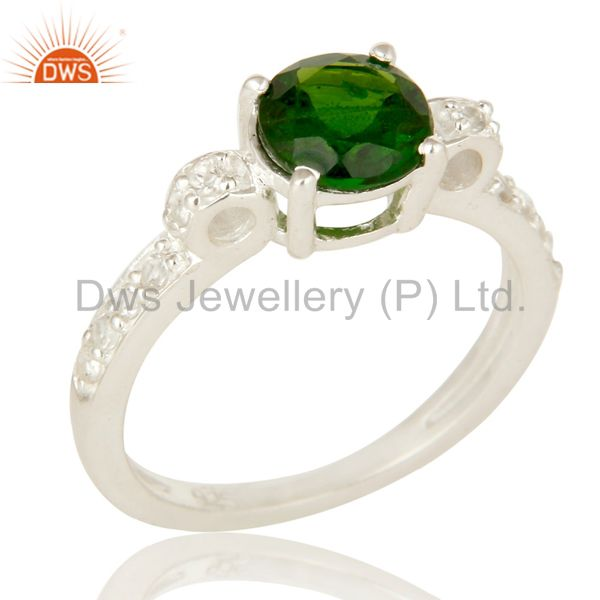 925 Sterling Silver Chrome Diopside Round Cut White Topaz Gemstone Halo Ring