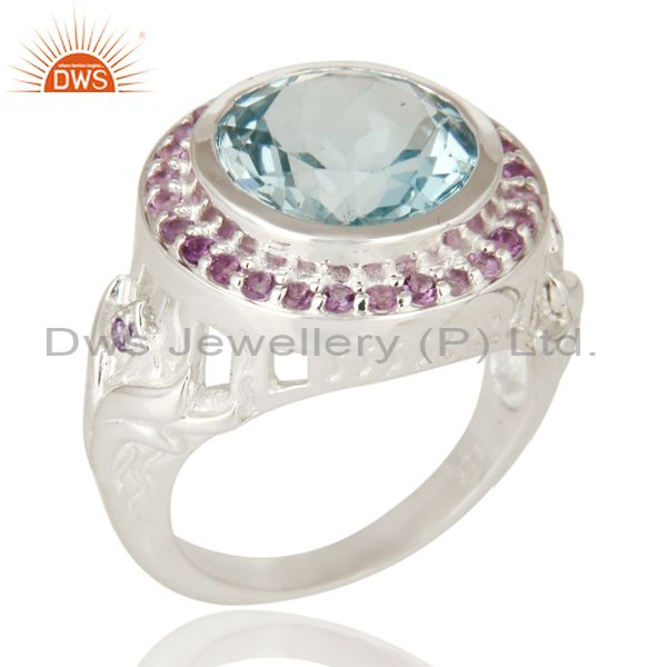 Amethyst And Blue Topaz Cocktail Ring Fine Sterling Silver Jewelry