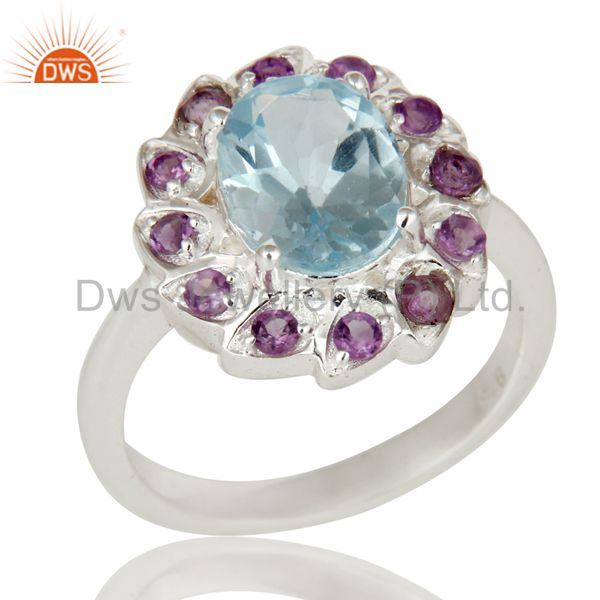 Natural Purple Amethyst And Blue Topaz Sterling Silver Cocktail Ring