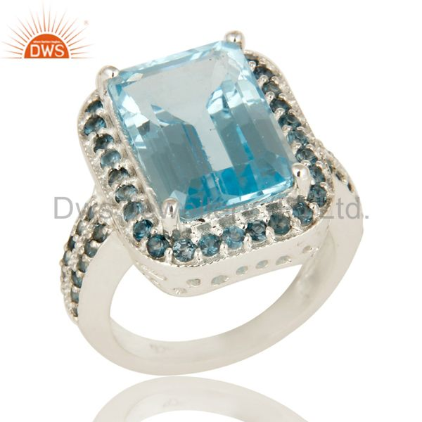 925 Sterling Silver Natural Blue Marquise Cut Gemstone Prong Set Statement Ring