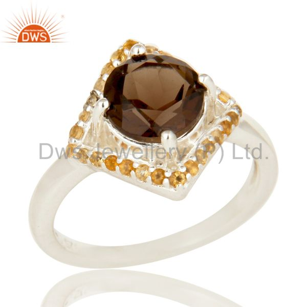 925 Sterling Silver Smoky Quartz And Citrine Gemstone Cocktail Ring