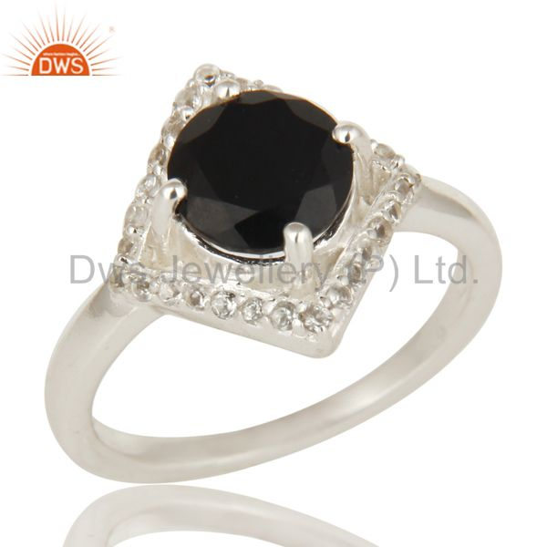 925 Sterling Silver Natural Black Onyx And White Topaz Cluster Ring