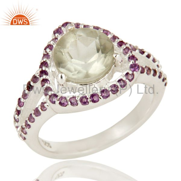 925 Sterling Silver Green Amethyst And Purple Amethyst Solitaire Ring