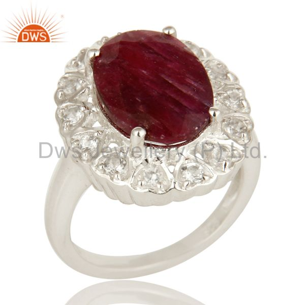 Dyed Ruby Corundum And White Topaz Sterling Silver Gemstone Cocktail Ring
