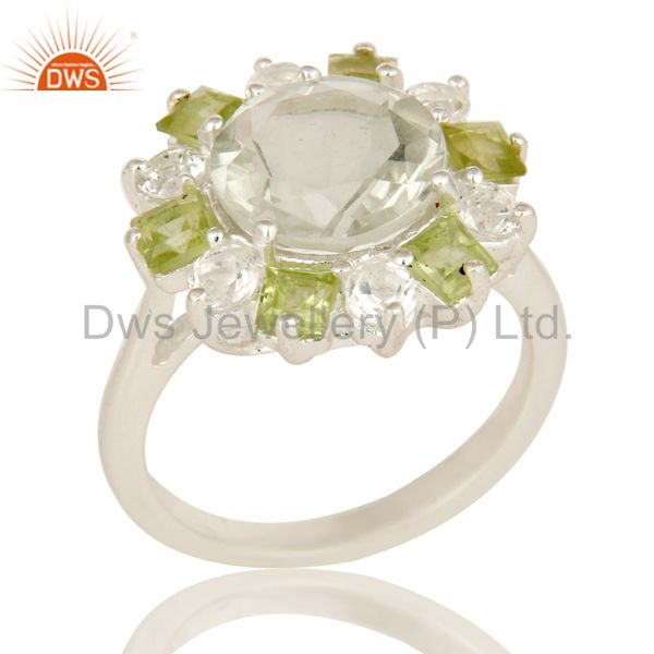 Green Amethyst Peridot And White Topaz Sterling Silver Cluster Cocktail Ring