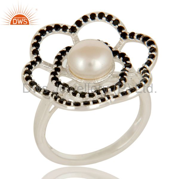 925 Sterling Silver Natural White Pearl And Black Spinel Cocktail Flower Ring