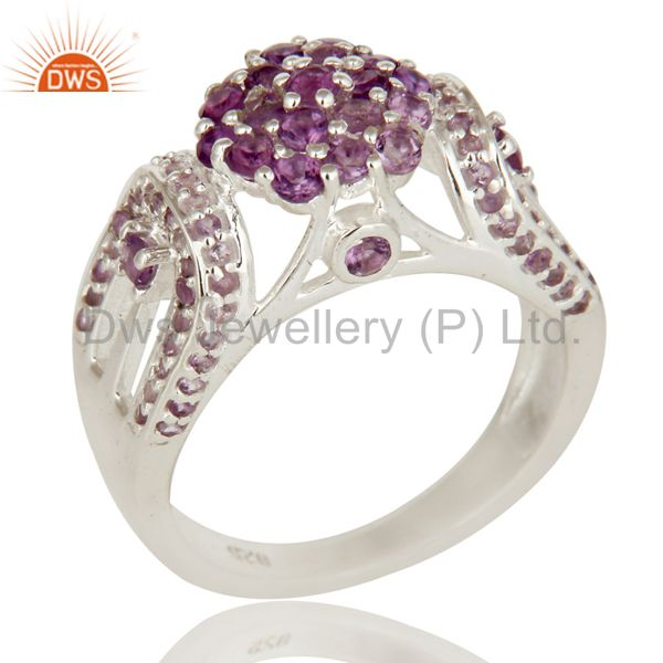 925 Sterling Silver Natural Amethyst Gemstone Cluster Cocktail Ring