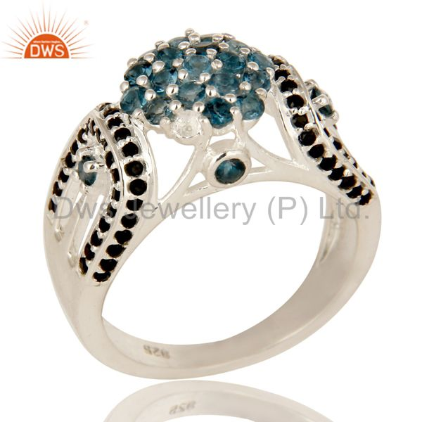 925 Sterling Silver London Blue Topaz And Black Spinel Cluster Cocktail Ring