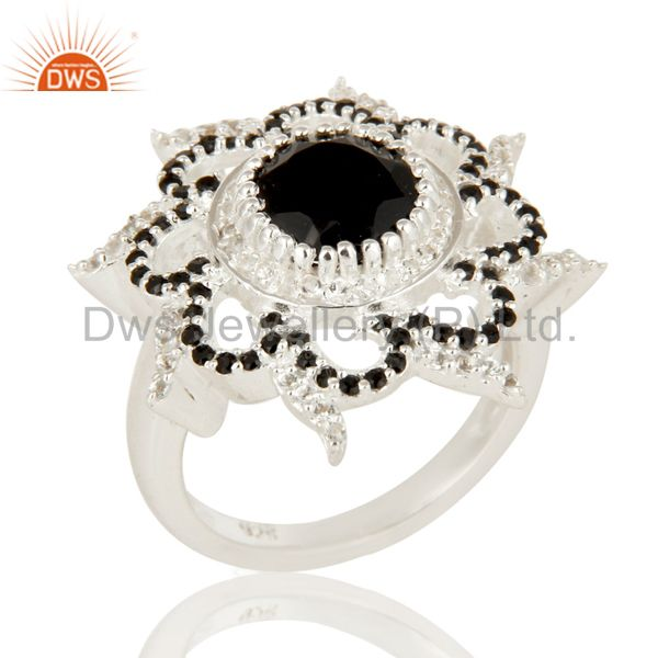 925 Sterling Silver Black Spinel And White Topaz Cocktail Fashion Ring