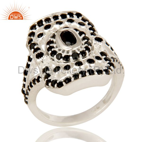 925 Solid Sterling Silver Black Spinel And Black Onyx Gemstone Statement Ring