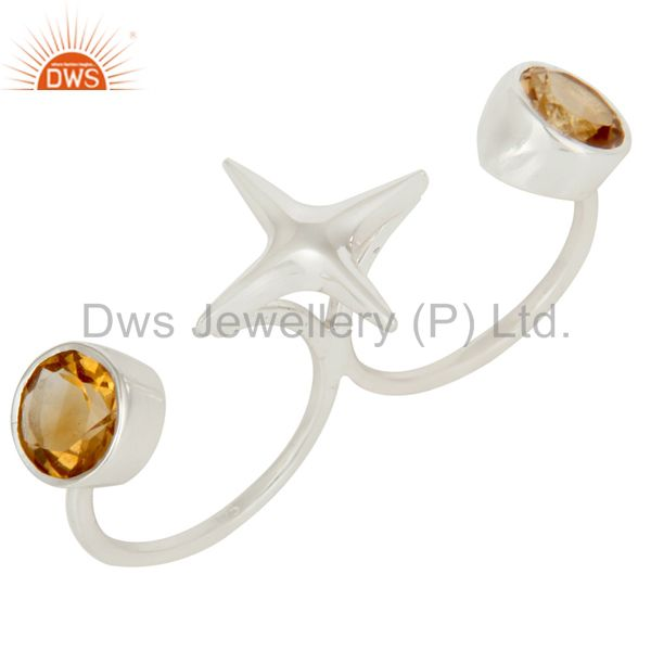 925 Sterling Silver Two Finger Star Knuckle Ring With Citrine Gemstone