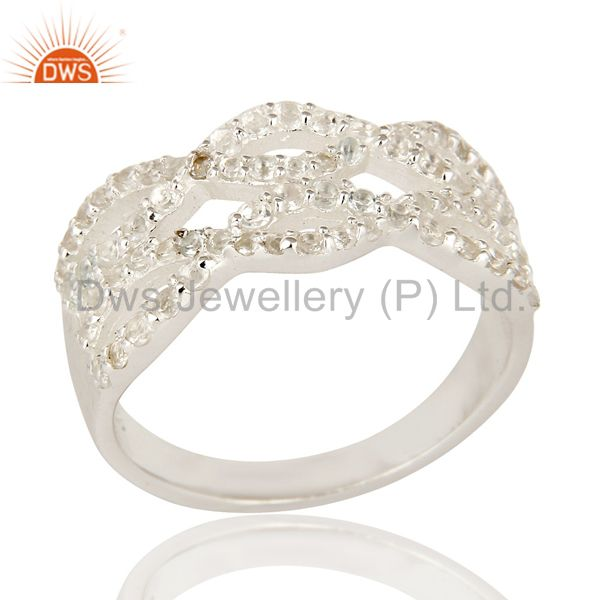 925 Sterling Silver White Topaz Gemstone Accent April Birthstone Infinity Ring
