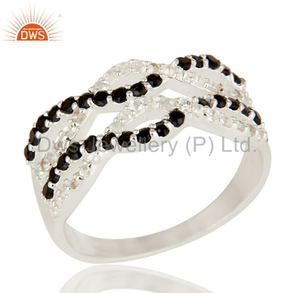 925 Sterling Silver Black Spinel And White Topaz Gemstone Infinity Dome Ring