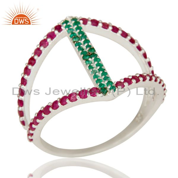 Emerald and Ruby Sterling Silver Designer Statement Ring