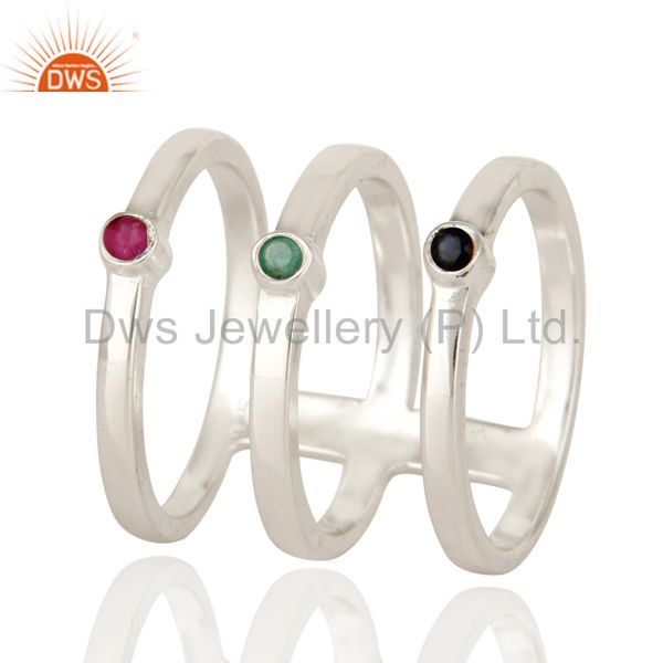 925 Sterling Silver Long Tri Bar Ring With Emerald, Ruby And Blue Sapphire