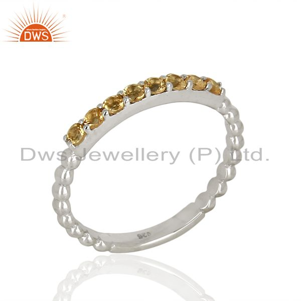 Citrine Gemstone Cluster Stacking Eternity 925 Sterling Silver Band Ring