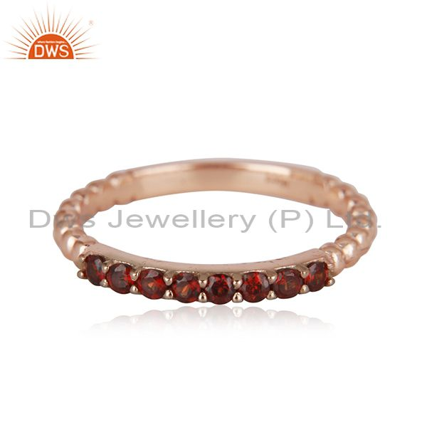 Genuine Garnet Gemstone Rose Gold Plated Sterling Silver Band Rings