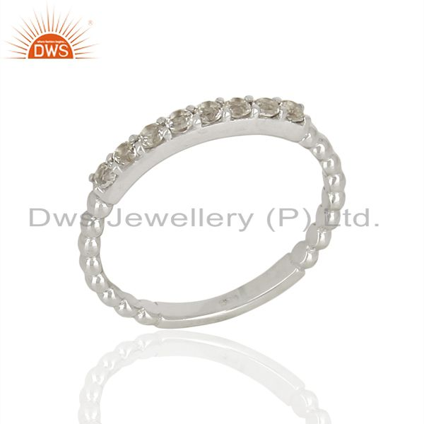 White Topaz Gemstone Cluster Stacking Eternity 925 Sterling Silver Band Ring