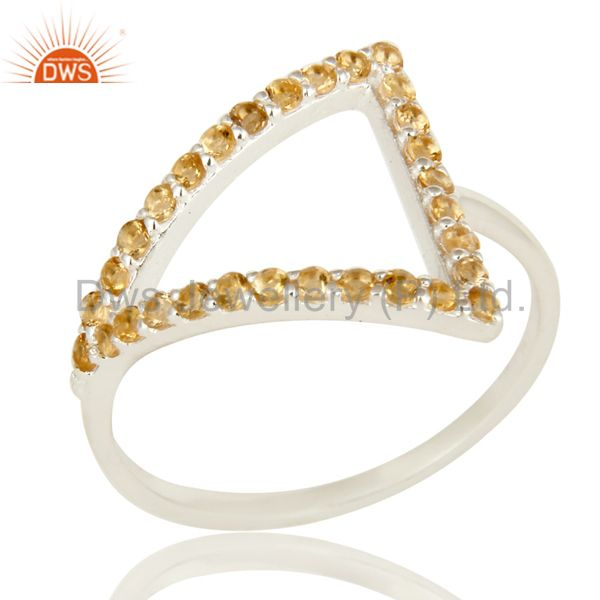 925 Sterling Silver Citrine Gemstone Cut Out Open Ring