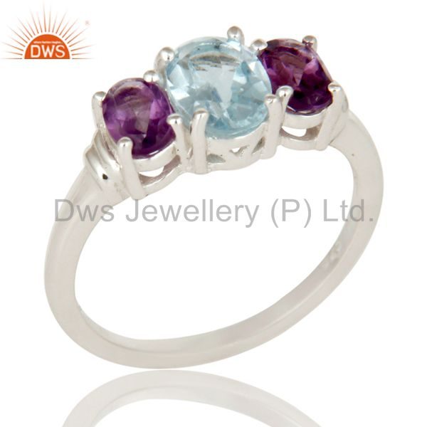 925 Sterling Silver Amethyst And Blue Topaz Gemstone Cluster Ring