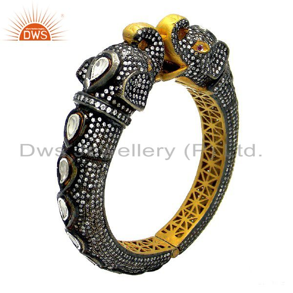 22K Yellow Gold Plated Silver CZ Polki And Ruby Victorian Style Elephant Bangle