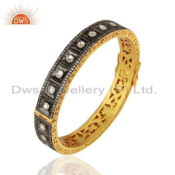 22K Yellow Gold Plated Sterling Silver CZ Crystal Polki Victorian Style Bangle