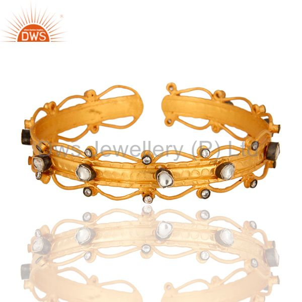 Handmade Sterling Silver Gold Plated Designer Cuff Bracelet Bangle With Crystal