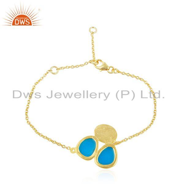 Indian Handmade 925 Silver Gold Plated Enamel Chain Bracelet Supplier