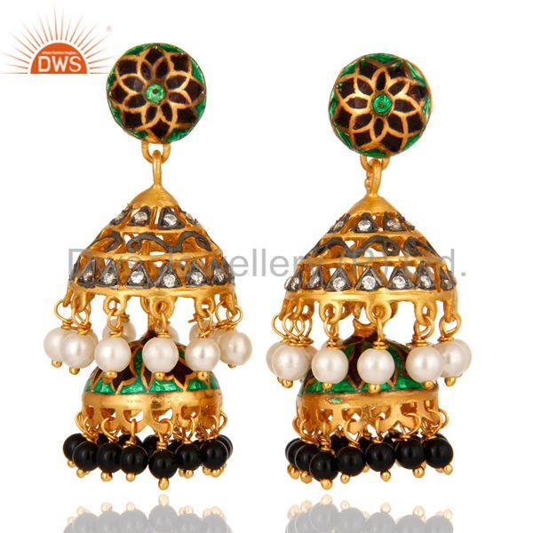 Gold Plated Silver Kundan Pearl & Onyx Meena Work Traditional Jhumka Earrings
