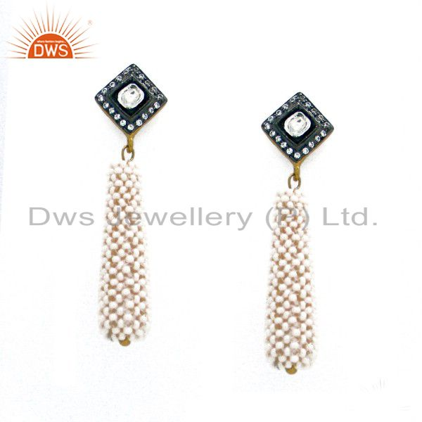 18K Gold Over Sterling Silver Pearl & Crystal Polki Victorian Style Dangle Earri