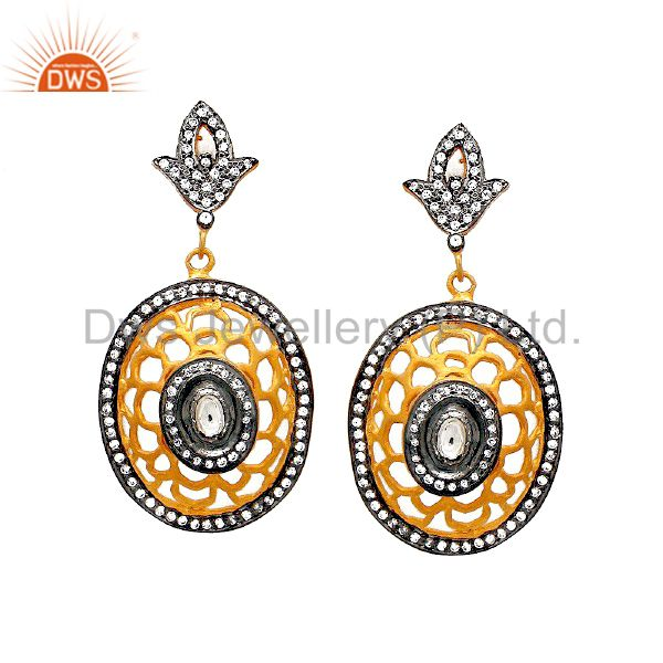 22K Yellow Gold Plated Sterling Silver Crystal CZ Polki Designer Dangle Earrings