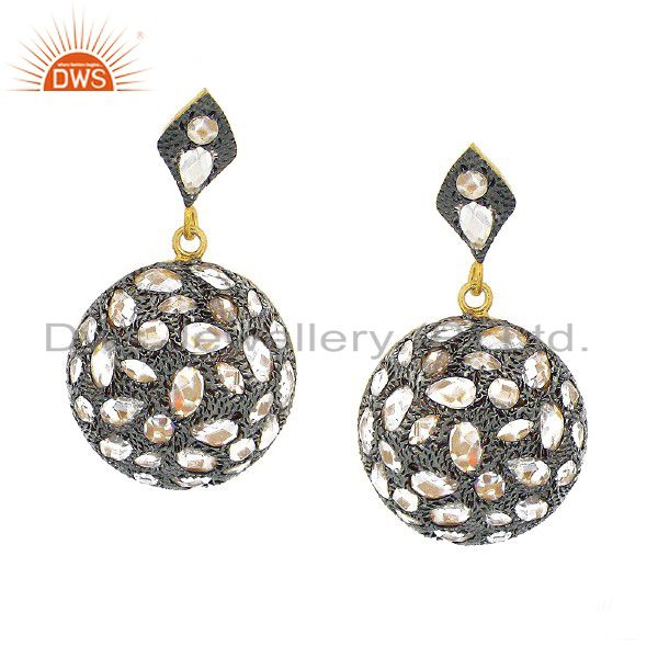 22K Yellow Gold Plated Sterling Silver Crystal CZ Polki Antique Style Earrings