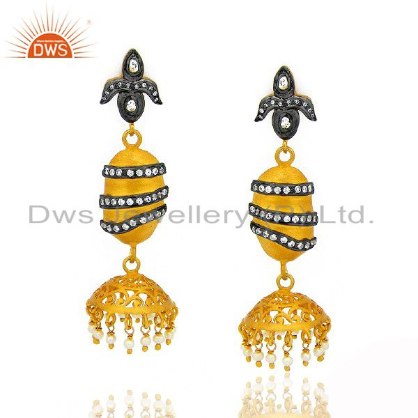 22K Gold Plated Sterling Silver Pearl And CZ Polki Antique Style Dangle Earrings