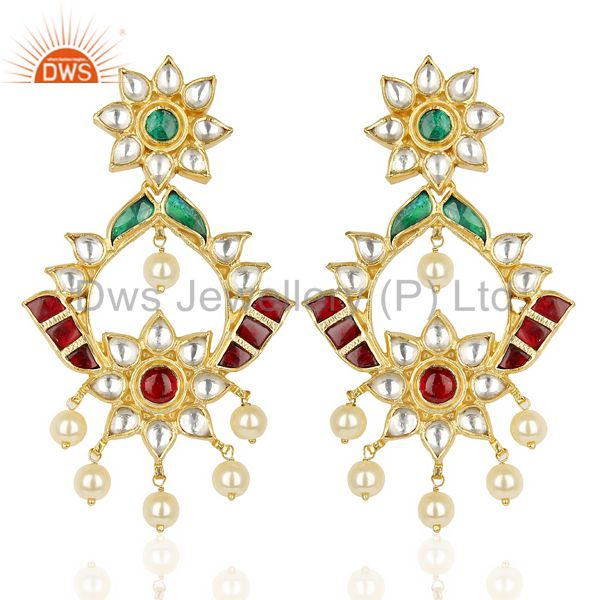 Kundan Polki 92.5 Sterling Silver South Traditional Dangle Earring
