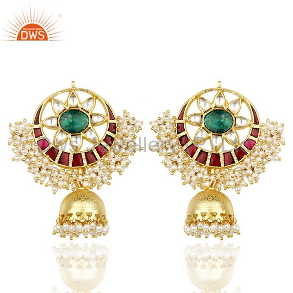 Kundan Polki Jhumka Chand Bali Gold Plated Silver Traditional Earring
